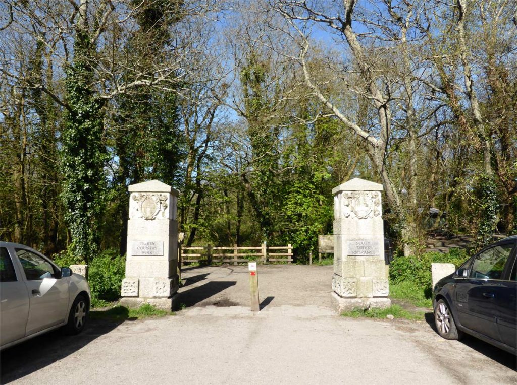 Pilars of the South Drive entrance to Tehidy Country Park, West Cornwall