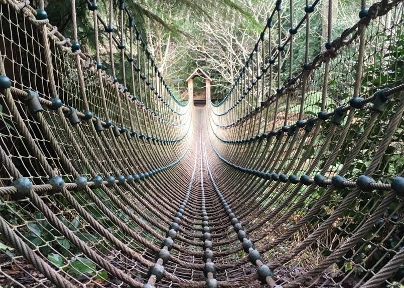 The Lost Gardens of Heligan is home to one of the longest Burmese Rope Bridges in Britain